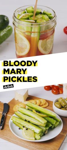 48 ideas brunch cocktails recipes bloody mary for 2019 Bloody Mary Pickles Recipe, Bloody Mary Recipes, Bloody Mary Cocktail Recipe, Hummus, Pam Pam, Fermented Foods, Canning Recipes, Canning Tips, Yummy Drinks