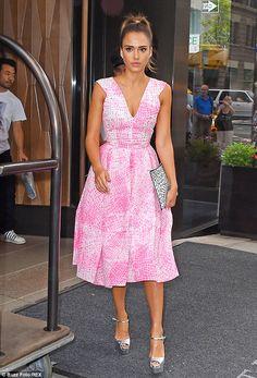 Jessica Alba in Antonio Berardi dress, Saint Laurent clutch, Brian Atwood shoes - 'Good Morning America' in New York City.  (August 2014)