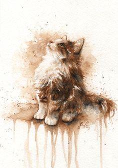Another of Braden Duncan's utterly beautiful and adorable pet portraits - sweet kitten! Art Aquarelle, Art Watercolor, Watercolor Animals, Cat Drawing, Painting & Drawing, Animal Paintings, Cat Art, Pet Portraits, Amazing Art