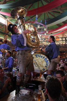 Blechblosn - one of the three oktoberfest-bands at the Weinzelt on the oktoberfest in munich