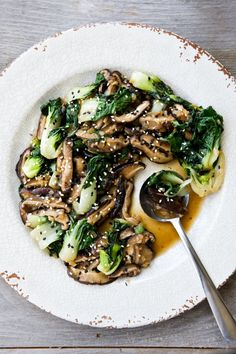 Asian-style shiitake mushrooms and baby boy choy. Click for recipe and nutritional info.