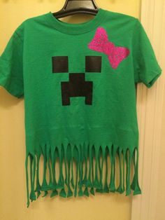 A girl Minecraft birthday shirt for your little creeper with a pink bow and fringe.