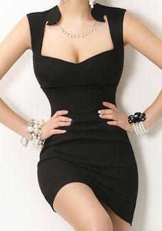Black Plain Irregular Square Neck Sleeveless Dress