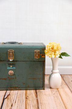 Vintage Waterloo Industrial Machinist Tool Box in Aqua Blue. $188.00, via Etsy.