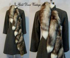 NEW NOS Amazing Vtg PAULINE TRIGERE FOX FUR Tail Trim Wool Princess Coat