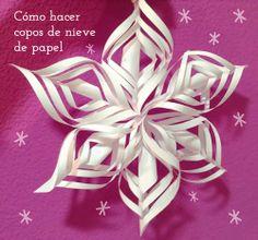 Copos de nieve de papel. http://manualidades.euroresidentes.com/2013/11/como-hacer-copos-de-nieve-de-papel.html