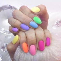 There are three kinds of fake nails which all come from the family of plastics. Acrylic nails are a liquid and powder mix. They are mixed in front of you and then they are brushed onto your nails and shaped. These nails are air dried. Summer Acrylic Nails, Cute Acrylic Nails, Acrylic Nail Designs, Spring Nails, Nail Art Designs, Pastel Nail Polish, Fruit Nail Designs, Pastel Nail Art, Acrylic Tips