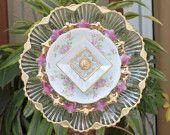 Vintage Repurpose Glass Plate Flower pink roses gold shabby chic garden art.