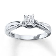 Diamond Solitaire Ring 3/8 Carat Round-cut 14K White Gold