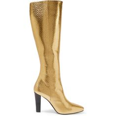 Saint Laurent Lily metallic snake-effect leather knee boots ($1,695) ❤ liked on Polyvore featuring shoes, boots, gold, zipper boots, snake boots, knee boots, yves saint laurent boots and leather zipper boots