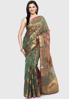 Bunkar Faux Cotton Silk Fancy Banarasi Green Saree