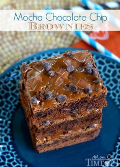 Homemade Mocha Chocolate Chip Brownies - Totally decadent, totally delicious, these Mocha Chocolate Chip Brownies make a stunning, homemade treat that takes just minutes longer than a box mix! |