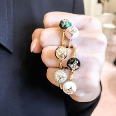 Packing a punch with 's new B Blossom colourful stone stacking rings. The diamond-set flower now shines bright atop spheres of malachite, onyx, white agate, pink opal or gold. Which one is your favourite? Diamond Jewelry, Diamond Earrings, Louis Vuitton Jewelry, 4 Diamonds, Pink Opal, Stacking Rings, Swagg, Jewelery, Bling