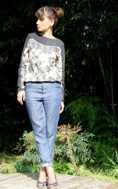Named ritual style / Wyome boyfriend jeans et Magena fringe jumper // Tissu The sweet mercerie // Jolies bobines