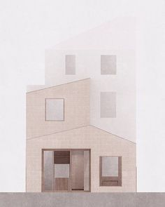 A considered and elegant elevational drawing showing a domestic extension made from pigmented concrete block and oak windows by London based practice Al Jawad Pike. . . . . . . . . . . #creativesontherise #architecturestudents #showyourwork #architectslife #artdesign #building #render #architectureschool #thearchiologist #arquitectura #thearchitecturestudentblog #thebna #artandarq #storeyshots #koozarch #kntxtr