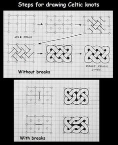 for Celtic knots---Zentangle Celtic Patterns, Doodle Patterns, Zentangle Patterns, Cool Patterns To Draw, Quilt Patterns, Celtic Drawings, Zentangle Drawings, Zentangles, Celtic Knots Drawing