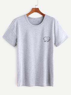 Shop Heather Grey Elephant Print T-shirt online. SheIn offers Heather Grey  Elephant Print T-shirt & more to fit your fashionable needs.