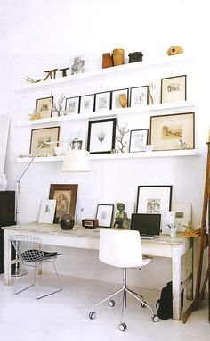 home office inspiration with lots of shelves and storage.