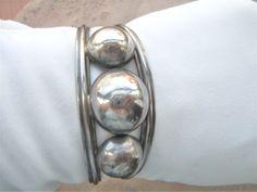 Vintage Southwestern Sterling Silver domed cuff bracelet