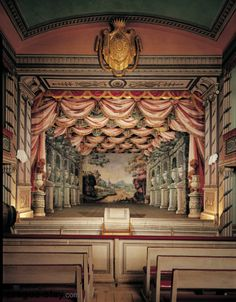 Litomysl Chateau, Litomysl, Czech Republic (one of only five working Baroque theaters in the world): teathre Theatre Design, Stage Design, Baroque, Design Exterior, Theatre Stage, Stage Set, Scenic Design, Concert Hall, Abandoned Places