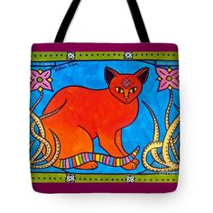 Cats For Kids Apparel and Gifts Cat Art Tote Bag by #dorahathazi For kids, for teens, cat painting, for girls, cat, art, cats, whimsical, bindi, lily, quirky, colorful, gatos, kitty, kitten, feline fantasy, pet, pets, painting, art, watercolor, beautiful, artwork, sweet, funny, meow, pet, pets, playful, bright, lovely, lovable, catlover, catlovers, cute cat, cute kitty, colorful cat, cat and flower, cat with flowers, sweet cat, lovely cat, nouveau, Dora Hathazi Mendes