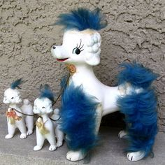 Vintage Poodle Porcelain Chained Family with Blue Fur Trim