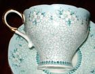 Paragon TURQUOISE/BLUE FLOR ELEGANCE Tea cup and saucer (68)