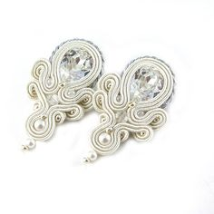 Bridal earrings Swarovski earrings soutache earrings silver white earrings embroidered earrings embroidery handcrafted