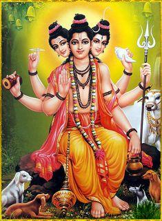 "DATTATREYA ॐ ""Dattatreya is at once the incarnation of Vishnu, Shiva and Brahma. All God Images, Lord Rama Images, Lord Shiva Hd Images, Ganesh Images, Shiva Parvati Images, Krishna Hindu, Lakshmi Images, Hindu Deities, Baby Krishna"