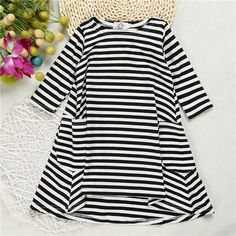 Baby Girls Striped Long Sleeve Dresses Casual Swing Flared Dresses Black *** Details can be found by clicking on the image. (This is an affiliate link) Mommy And Me Dresses, Baby Girl Dresses, Baby Dress, Baby Girls, Tutu Dresses, Party Dresses, Black White Striped Dress, Princess Dress Kids, Princess Party