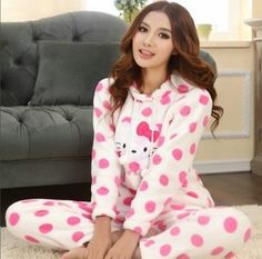 pajama top on sale at reasonable prices, buy Thick Coral Fleece Indoor Clothes Hello Kitty Clothes Hello Kitty Pajamas Pink and Yellow from mobile site on Aliexpress Now! Chat Hello Kitty, Hello Kitty House, Hello Kitty Clothes, Hello Kitty My Melody, Hello Kitty Items, Hello Kitten, Hello Kitty Characters, Hello Kitty Christmas, Diy Clothes