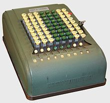Comptometer - Wikipedia, the free encyclopedia  Thank God these were obsolete by the time I started my career but there was on located in the office of my first job... I used an adding machine w/tape...