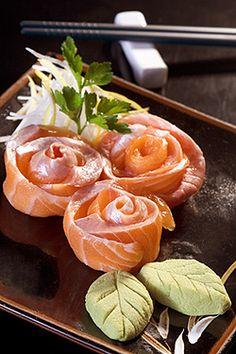 Nice salmon sashimi presentation