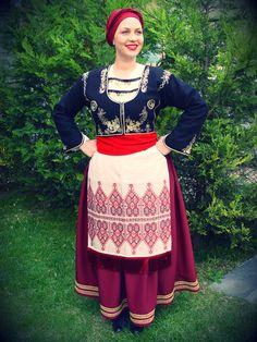 Cretan woman's costume - made by Toli in Neochorouda, Thessaloniki Thessaloniki, Fashion History, Lace Skirt, Costumes, Traditional, Skirts, Roots, Folk, Dresses