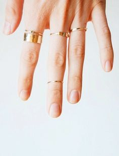 Plain gold stack rings. For more lifestyle, illustration, beauty and fashion posts check out - natashadearden.com/