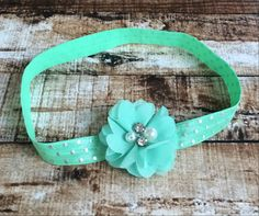 Mint Chiffon Flower with Rhinestones on Mint with Silver Polka Dots Elastic Headband by PinkSunshinePretties on Etsy