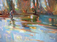 Lost In Blue, Mary Maxam, oil painting, ,flyfishing,