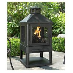 crosley furniture Monticello wood burning villa fire pit in black