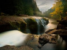 Sunset at Lower Lewis Falls in Gifford Pinchot National Forest.