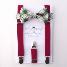 Green Bow Tie and Suspenders, Green Plaid Bow Tie,  Red Suspenders, Toddler Suspenders, Boy Ssuspenders, Baby, Infant, Kids, Taetan by TheBoytiqueExpress on Etsy https://www.etsy.com/listing/213408953/green-bow-tie-and-suspenders-green-plaid