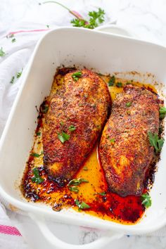 Perfect Oven Baked Chicken Breast are incredibly juicy and flavored with the perfect amount of seasonings. Tip shared to create juicy chicken breasts!