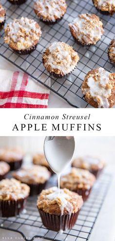 Cinnamon Streusel Muffins, Apple Streusel, Apple Muffins, Apple Recipes, Baking Recipes, Snack Recipes, Dessert Recipes, Fun Desserts, Bread Recipes