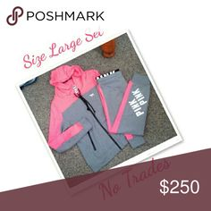 VS Pink Rare Track Set No Trades Size Large Very Hard to Find EUC No Holds Price is Firm Tops Sweatshirts & Hoodies