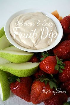 Wow your guests with this Delicous and Easy Fruit dip from Cindy Hopper at Skip to my Lou. You have to try this!
