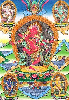 Kurukulla - The Red Tara with Her Emanations - Tibetan Thangka Painting