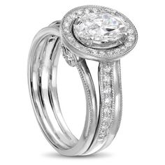 white gold engagement ring with oval diamond Oval Diamond, Diamond Rings, Jewelry Design, White Gold, Wedding Rings, Engagement Rings, Jewels, Collection, Enagement Rings