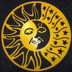 Sun Moon and Stars Metal Wall Art