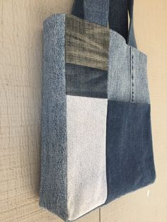 Bohemian Inspired Multi-Patch Denim Front Pocket Tote with Soft Cotton Lining by AllintheJeans on Etsy