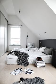 Prodigious Tricks: Minimalist Home Diy Ideas modern minimalist living room cabinets.Minimalist Home Interior Architecture white minimalist bedroom pallet beds.Minimalist Decor Home Living Rooms. Dream Bedroom, Home Bedroom, Bedroom Decor, Bedroom Ideas, Bedroom Designs, Bedroom Wall, Slanted Wall Bedroom, Sloped Ceiling Bedroom, Slanted Walls
