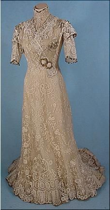 Antique Edwardian Battenburg and Gold Lame' Gown...:) antiquedress.com